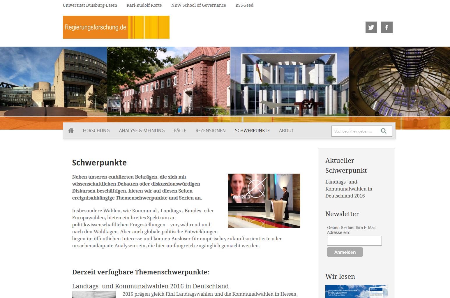 Auf regierungsforschung.de finden Sie Schwerpunktthemen, Essays, Forschungsbeiträge und mehr.