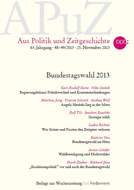 """Die neue Ausgabe der APuZ behandelt das Thema """"Bundestagswahl 2013"""" einen Beitrag liefern Karl-Rudolf Korte und Niko Switek"""