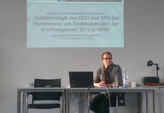 Promovend Tim Efing präsentierte in Gummersbach seinen Arbeitsstand.