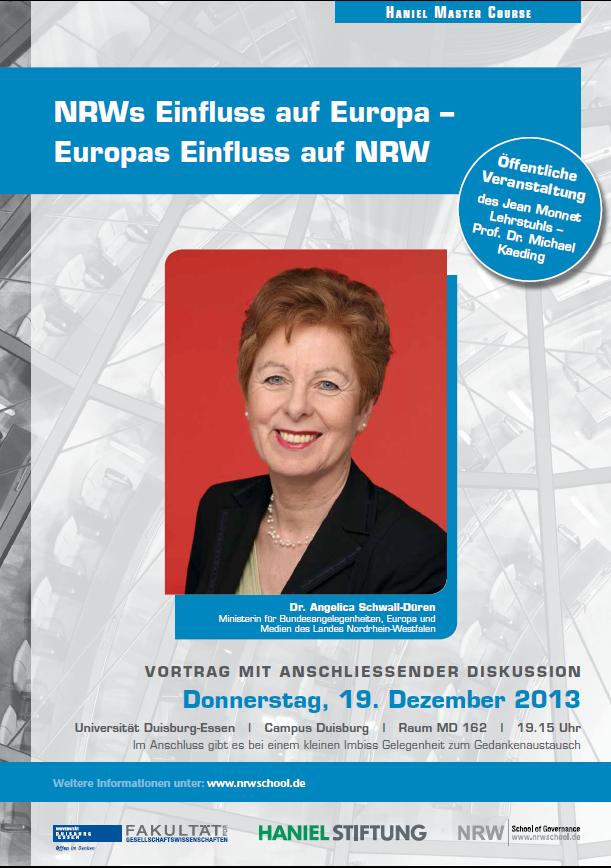 Öffentlicher Vortrag von Dr. Angelica Schwall-Düren am 19.12 in Duisburg