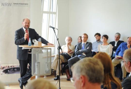 Martin Schulz, Präsident des Europäischen Parlamentes, während eines Vortrags an der NRW School of Governance im August 2013