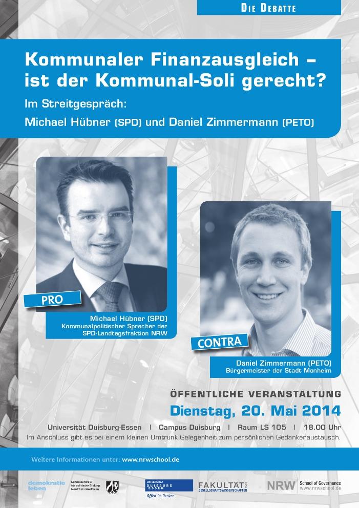 Am Dienstag, den 20. Mai 2014, debattieren Michael Hübner und Daniel Zimmermann zum Kommunalsoli
