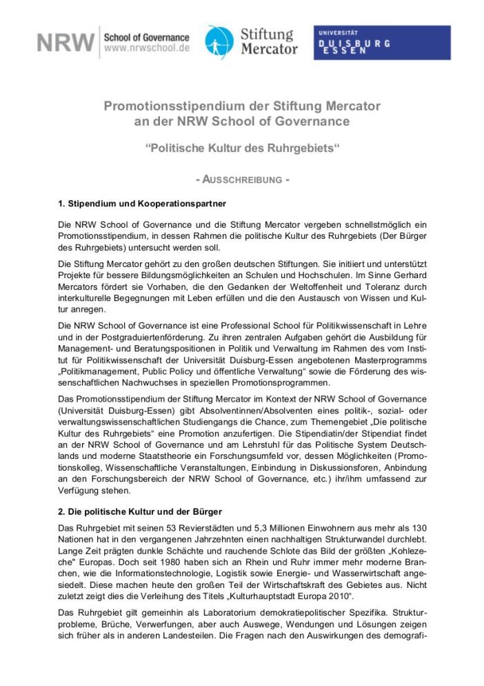 Die NRW School of Governance und die Stiftung Mercator vergeben aktuell drei Promotionsstipendien. Die Bewerbungsfrist läuft bis zum 10.06.2014
