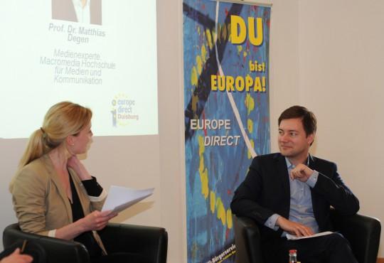 Dem Europawahlkampf fehle es an medienwirksamen Themen, so Matthias Degen (r.).