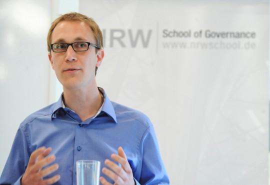 Daniel Zimmermann, Bürgermeister der Stadt Monheim am Rhein, vertrat die Position gegen den Kommunalsoli