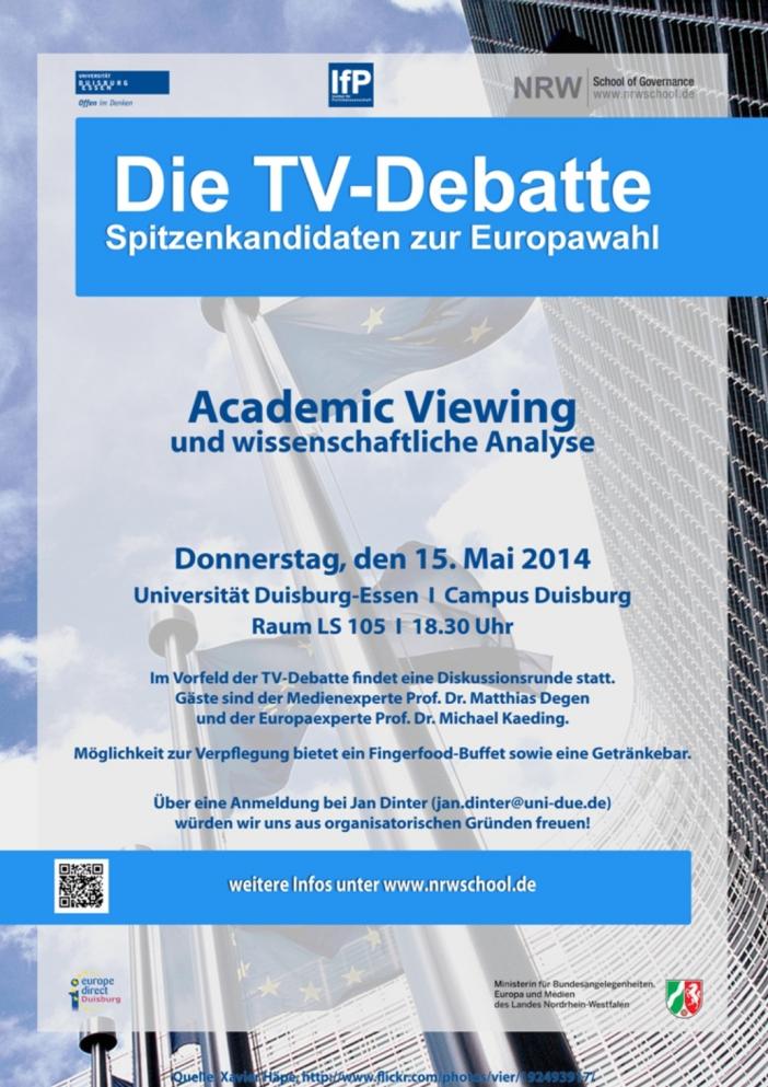 Am 15. Mai können Sie die TV-Debatte zur Europawahl live an der NRW School mitverfolgen