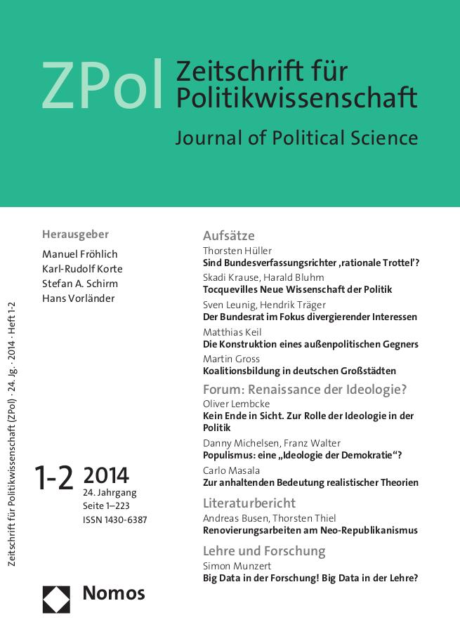 """Das Forum der aktuellen Ausgabe (1-2/2014) der ZPol widmet sich dem spannenden Thema: """"Renaissance der Ideologie?"""""""