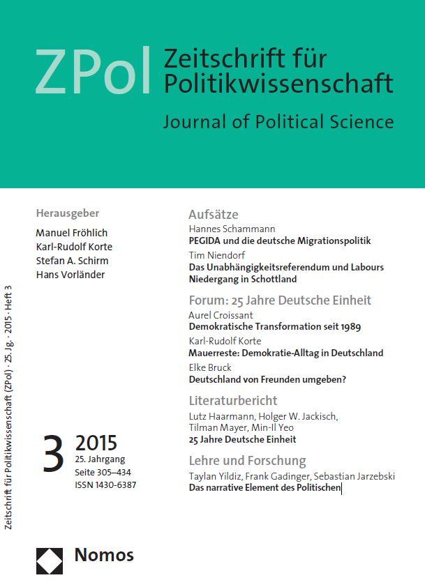 """Den Schwerpunkt der ZPol-Ausgabe 3/2015 bildet das Thema """"25 Jahre Deutsche Einheit"""""""