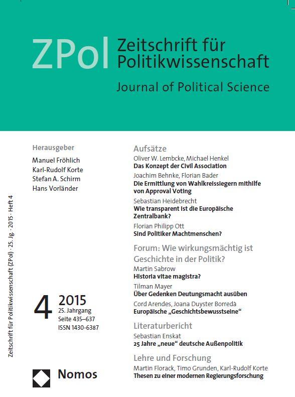 """Das Schwerpunktthema der aktuellen Ausgabe der ZPol lautet """"Wie wirkungsmächtig ist Geschichte in der Politik?"""""""