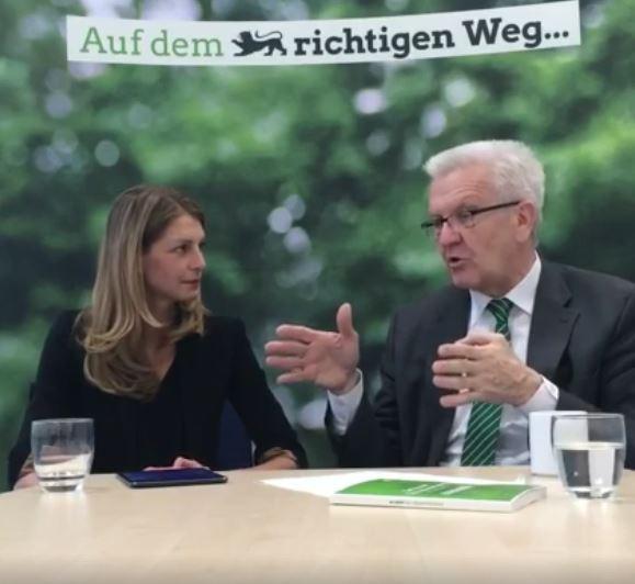 Anja Adler und Winfried Kretschmann live auf Facebook